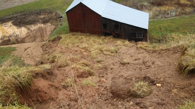 Mudslides like this one in Swain County in 2013 typically are not covered under homeowners insurance in North Carolina.
