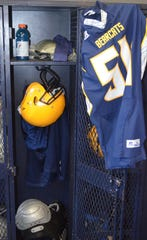 BCC players set up a locker for the first game of the season for former teammate Michael Miller, who died in 2017 of brain cancer.