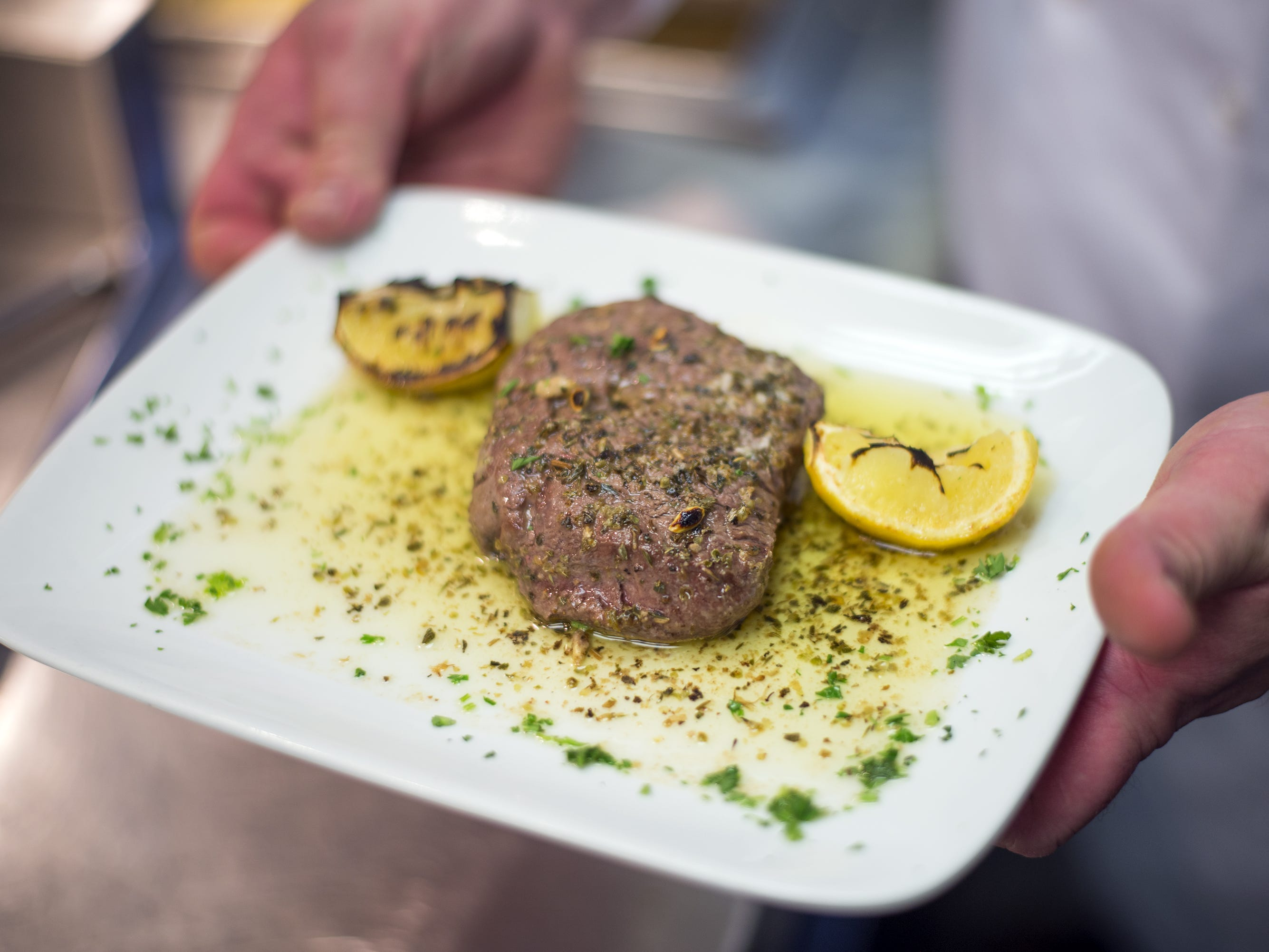 A petite Greek tenderloin broiled with lemon, garlic, butter and oregano at Number 5 restaurant in Binghamton in April of 2016.