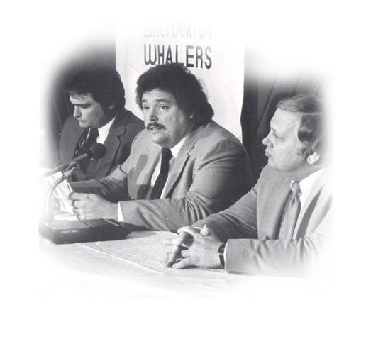 From left: Tom Mitchell, Jim McCoy and Bob Carr purchased the AHL Whalers franchise.
