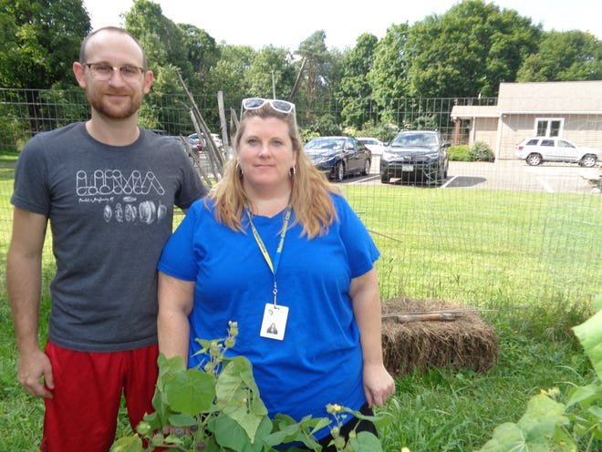 Taylor Norton, left, and Molly Goosman serve as co-leaders of the Spartan Garden, which grows fresh vegetables for needy families in the Maine-Endwell district.