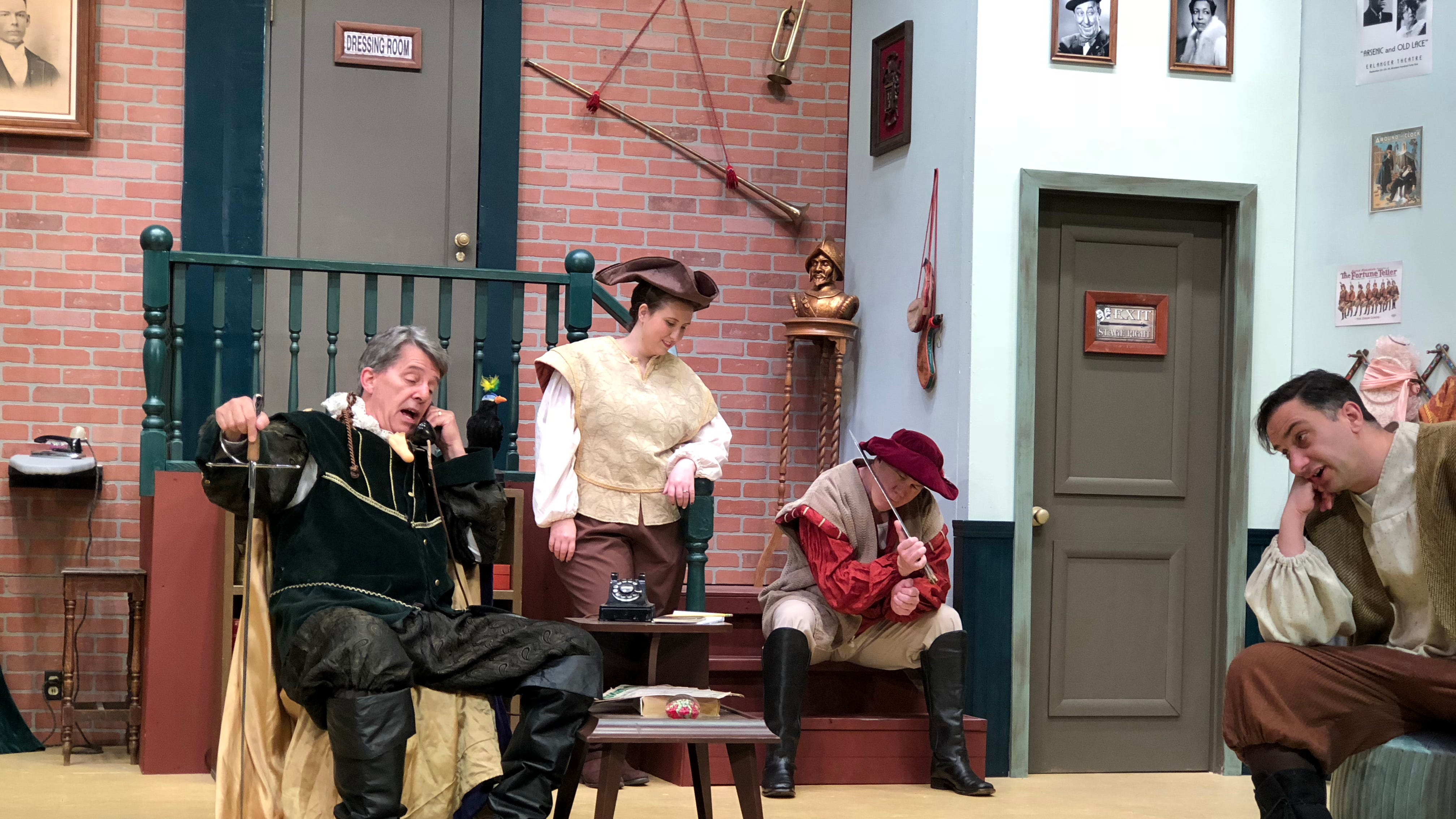 """""""Moon Over Buffalo"""" castmembers (from left) Steven W. Buechler, Cailey O'Leary, Bruce Taylor and Scott Ventrice rehearse a scene."""
