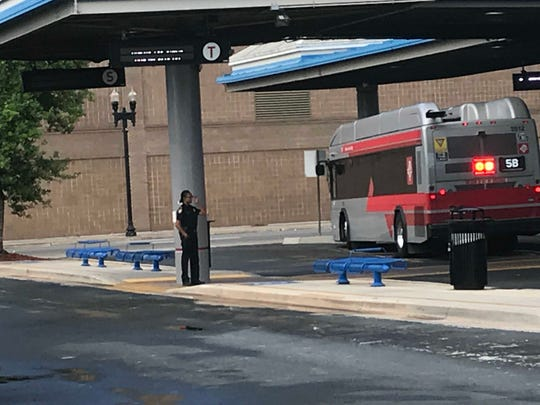 There was a small, but visible, police presence Monday at the Rosa L. Parks Transit Center in downtown Jacksonville.