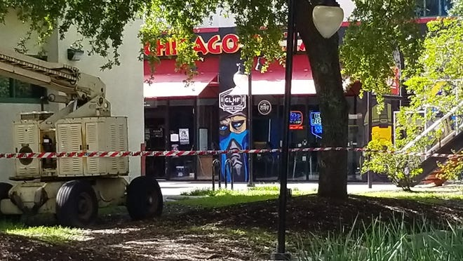 Scene at Chicago Pizza at Jacksonville Landing, where a gunman opened fire during a video game tournament Aug. 26, 2018.