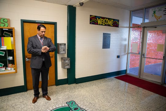 Corpus Christi Independent School District Superintendent Roland Hernandez waits for the start of the school day at Dawson Elementary on the first day of school, Monday, Aug. 27, 2018.