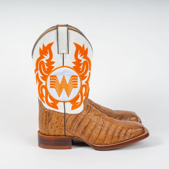 Whataburger presented Fancy Ketchup lover and country music singer Randy Rogers with these Whataburger cowboy boots.