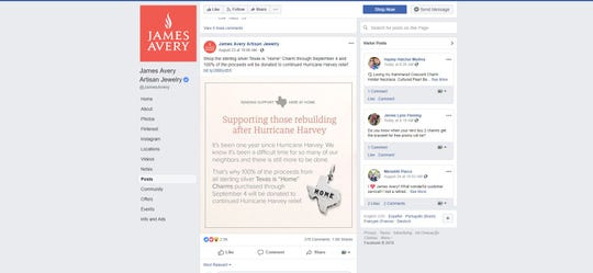 "James Avery has begun selling a ""Texas is home"" charm to raise money for Hurricane Harvey relief."