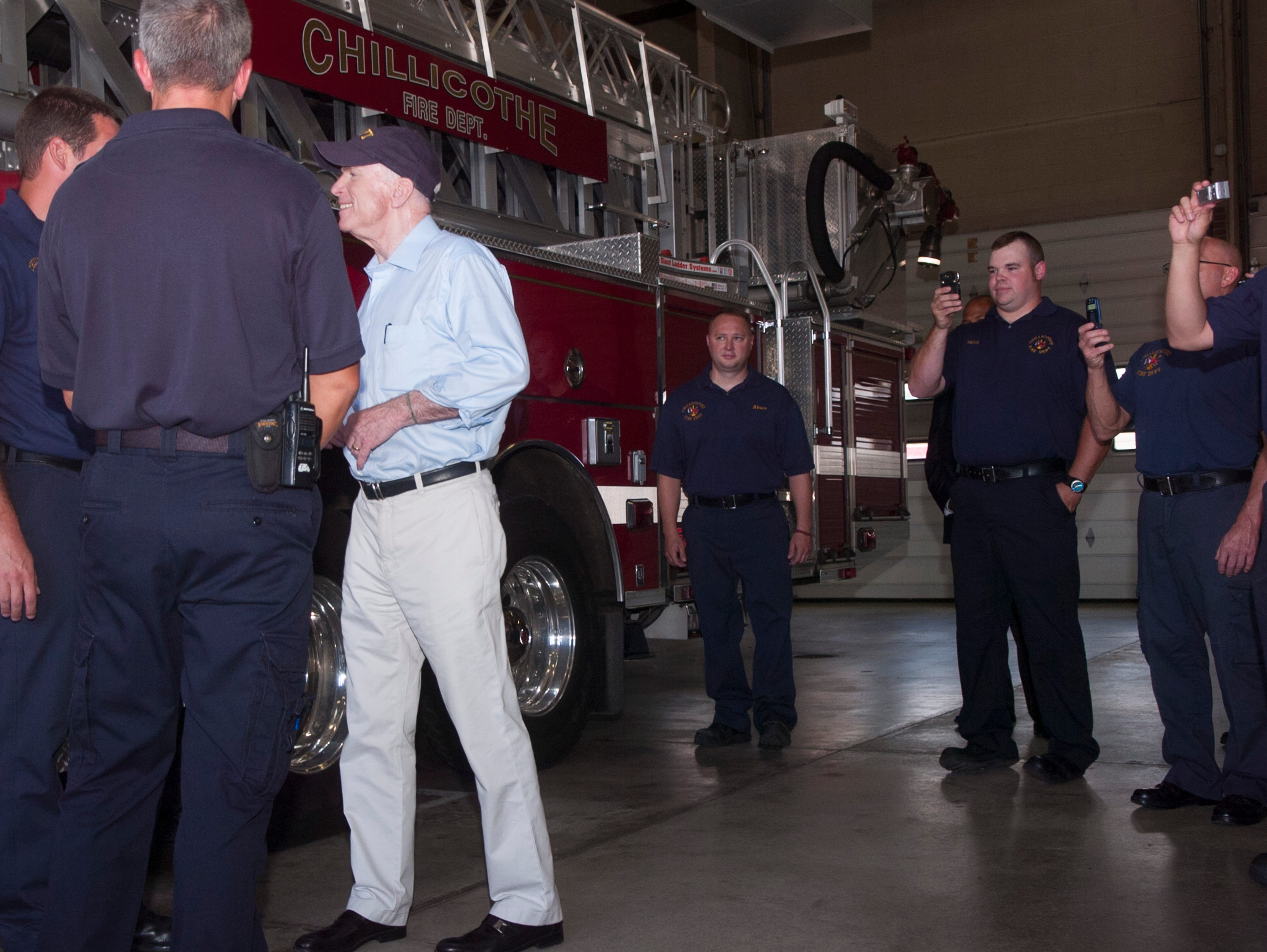 Republican presidential candidate Sen. John McCain made a surprise visit to a Chillicothe fire station and participated in a town hall meeting in Portsmouth in 2008.