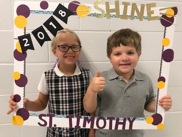 "Back to school for St. Timothy Catholic School was Aug. 13, 2018. Its theme this year is ""Anything is possible when you let your light shine!  Pictured here are first-graders Molly McCormack and Colton Walter."