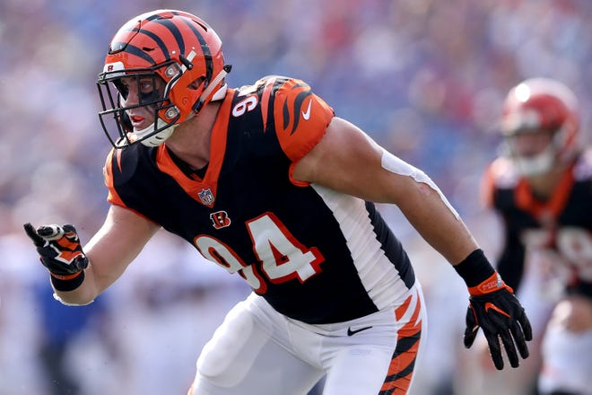 Cincinnati Bengals defensive end Sam Hubbard (94) attacks the quarterback in the second quarter during the Week 3 NFL preseason game between the Cincinnati Bengals and the Buffalo Bills, Sunday, Aug. 26, 2018, at New Era Stadium in Orchard Park, New York.