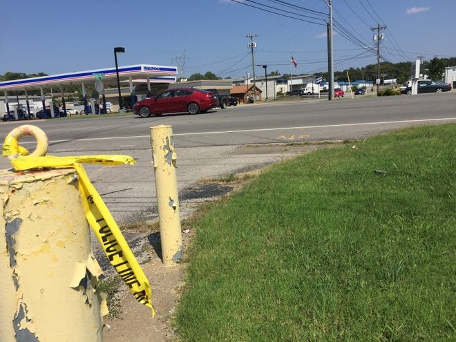 Crime scene tape marks the intersection at 41-A Bypass and Vista Lane where a 77-year-old man was struck while crossing the street early Monday. He later died of his injuries.