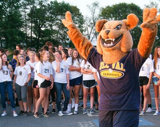 Del Val mascot Tuffy the Terrier entertains the fans at last year's fall pep rally. This year's rally will take place Thursday, Aug. 30, at the football field.