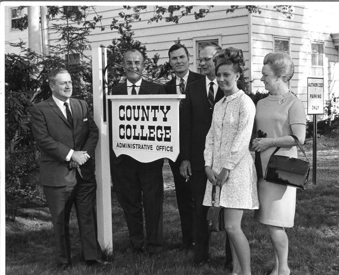 Celeste Onka, the first student admitted to Somerset County College, second from right, poses for a photo in 1968 with, from left, George Radcliffe, the College's first Chairman of the Board of Trustees; Dr. Henry C.J. Evans, the College's first President; John Mullen, a member of the Somerset County Board of Chosen Freeholders; and Onka's parents, Joseph and Sophie Onka.