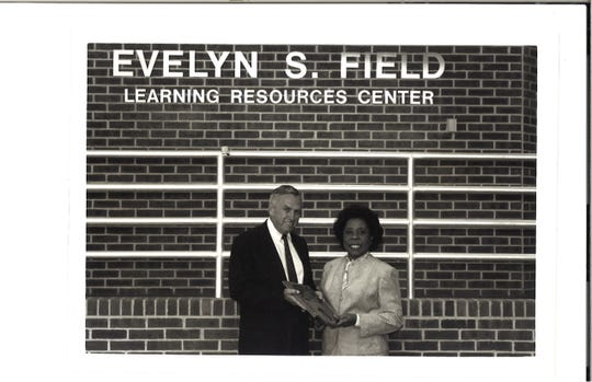 Raymond H. Bateman and Evelyn S. Field celebrate the 1993 naming of the College's Evelyn S. Field Library in her honor. Mrs. Field was a founding member of the RVCC Board of Trustees who served for more than 40 years.