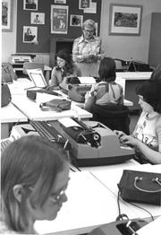 Female students take a typing test in 1976.