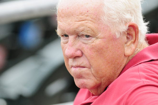 Red Hollis watches an Iowa Cubs game in the late 2000s.