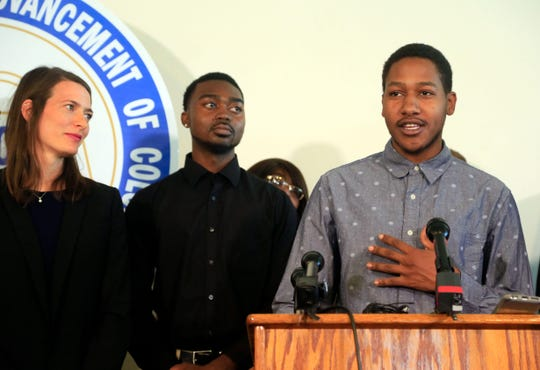Jared Clinton speaks at a news conference Aug. 27, 2018 announcing a lawsuit filed against the Des Moines Police Department and the officers involved after Clinton and friend Montray Little were allegedly racially profiled during a July traffic stop.