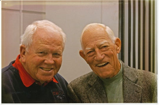 Red Hollis and Hall of Fame manager Sparky Anderson at an Iowa Cubs Fan Fest.