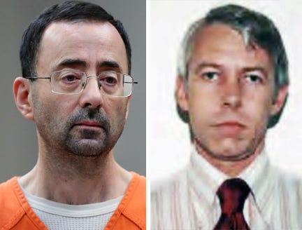 Dr. Larry Nassar, former Michigan State University team doctor (left) and Dr. Richard Strauss, former Ohio State University team doctor (right)