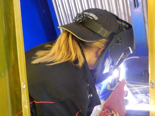 Welding student Ashlyn Childs will pursue an international paid apprenticeship next year before she begins her career in that field. She credits teachers Justin Schmidt and Tony Miller for the guidance they provided when she was in the welding program in her high school's tech center.