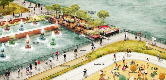 Rendering shows concept of what the Atwater Beach area on the Detroit River may look like.