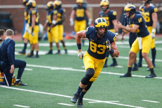 Michigan tight end Zach Gentry runs a route during an open practice at Michigan Stadium in Ann Arbor, Sunday, Aug. 26, 2018.