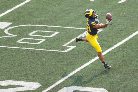 Michigan receiver Grant Perry in Sunday's practice.