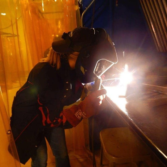 Childs recently completed a paid welding apprenticeship at Adrian Steel. She plans to pursue a career in welding because of the ample number of high-paying job opportunities.
