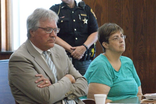 Janet Sanderson, right, with attorney James Hart, is sentenced to one year at the Sandusky County Jail.