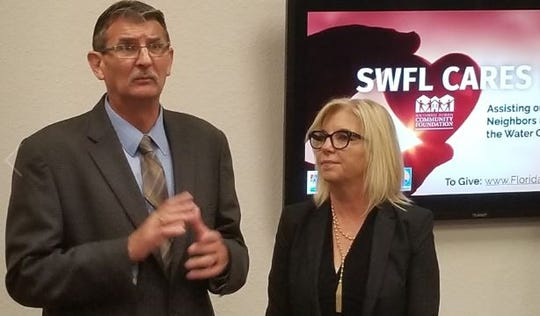 Cliff Smith, President of the United Way of Lee, Hendry, Glades, and Okeechobee with Sarah Owen, CEO of the Southwest Florida Community Foundation announce the start of a fundraising drive to benefit people hit hard by the region's water crisis.