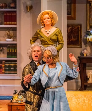 "Mary Ernster as Raquel (The Diva), Karl Hamilton as Vito (The Maestro) and Erica Stephan as Iris in a scene from the Peninsula Players production of ""Living on Love,"" on stage at Players through Sept. 2."