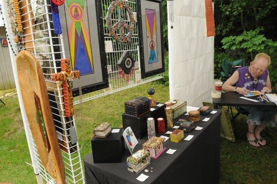 Norm Knott of Rockford, Illinois, shown at a previous Gills Rock ArtFest, brings his mixed-media art back for this year's ArtFest, taking place Sept. 1 and 2.