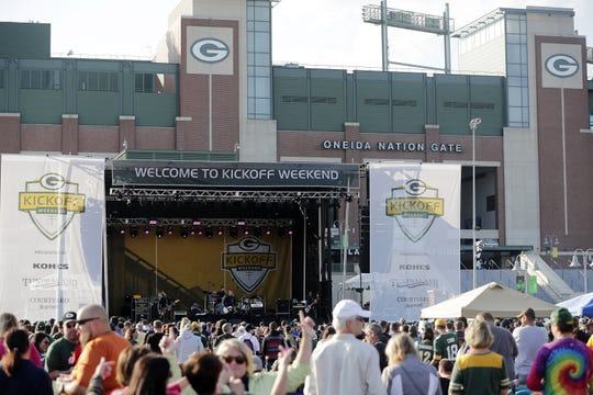 Everclear performs outside Lambeau Field in September 2018. It will be a similar setup, but with a larger stage, for the Steve Miller Band on Sept. 8.