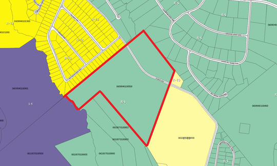 The Greenville County Planning Commission rejected a developer's request to rezone this area off Furr Road in southern Greenville County, marked in red, to allow up to 196 houses to be built. The current rural zoning -- shown in green -- would allow 92 houses. The requested zoning would allow up to 196.