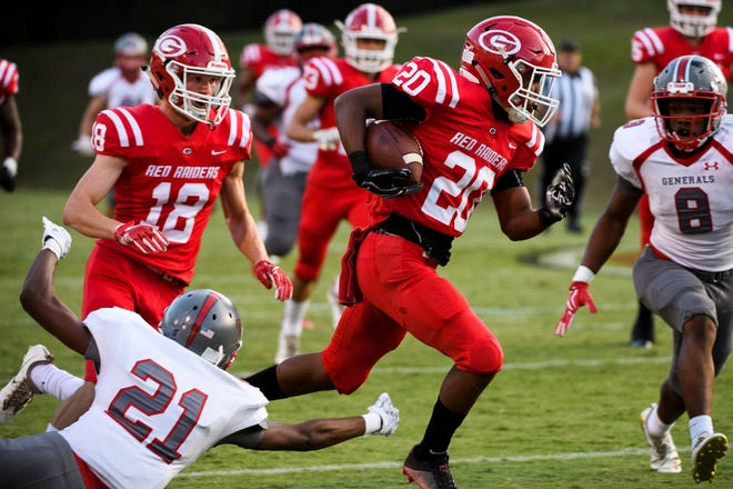Greenville running back Collin Wakefield rushed for 170 yards in the Red Raiders' 27-0 victory against Wade Hampton Friday night.