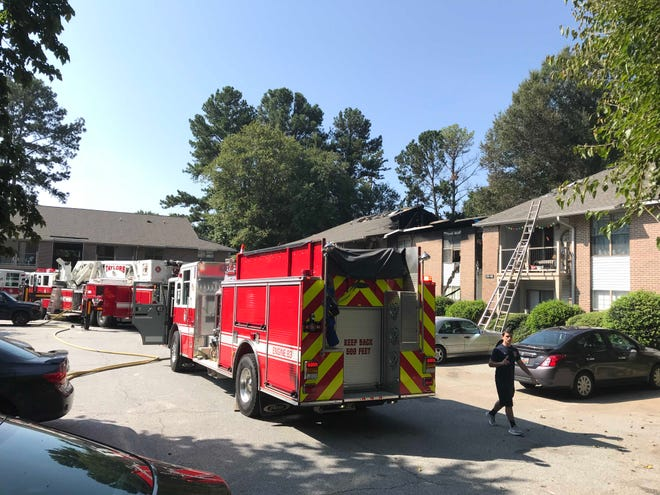 A fire broke out at Kensington Apartments in Taylors on Monday, Aug. 27, 2018. At least six fire trucks and an ambulance responded to the emergency.