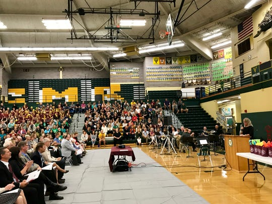 Superintendent Tammy Lacey offers encouragement to teachers at the GFPS teachers' convocation at CM Russell High School on Monday.