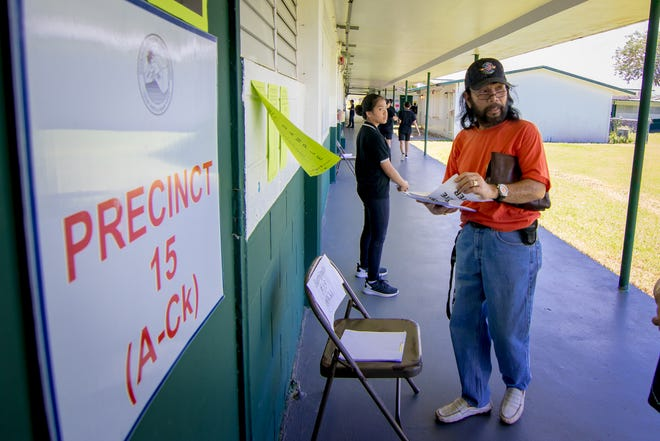 Registered voters exercise their right to vote during the Primary Election at PC Lujan Elementary School in Barrigada on Aug. 25, 2018.
