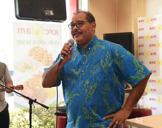 Frank Cruz, KFC vice president and general manager, discusses his restaurant's new breakfast menu during a launch event in Tamuning on Aug. 27, 2018. Cruz was elected Secretary General of the Guam Basketball Confederation last week.