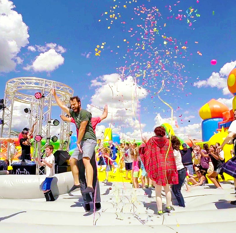 The world's largest bounce house is back in Indianapolis — and adults are welcome
