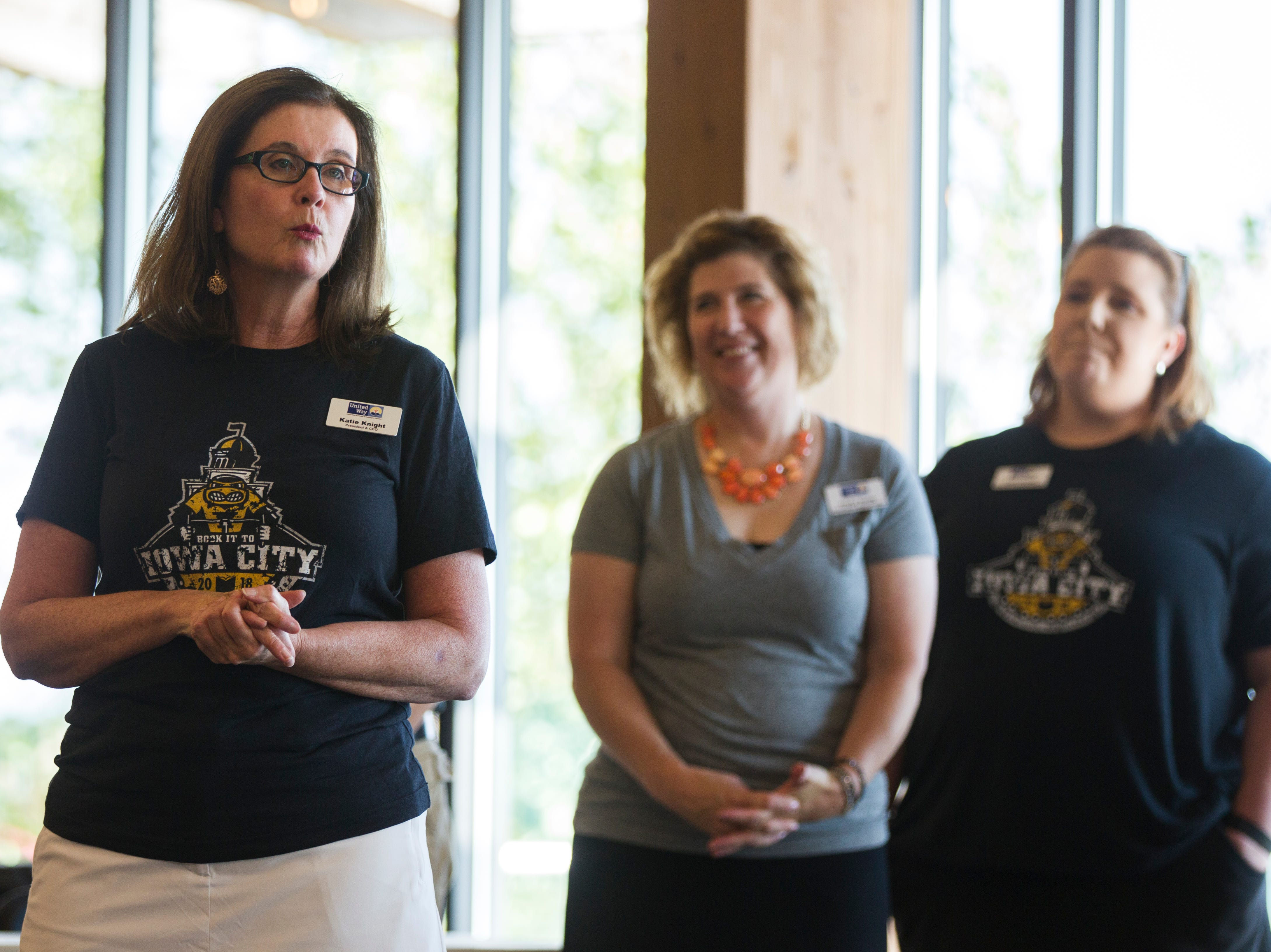 Katie Knight, President and CEO of United Way of Johnson and Washington Counties, speaks during an event for Iowa City RAGBRAI volunteers on Monday, Aug. 27, 2018, inside the Park Lodge at Terry Trueblood Recreation Area in Iowa City.