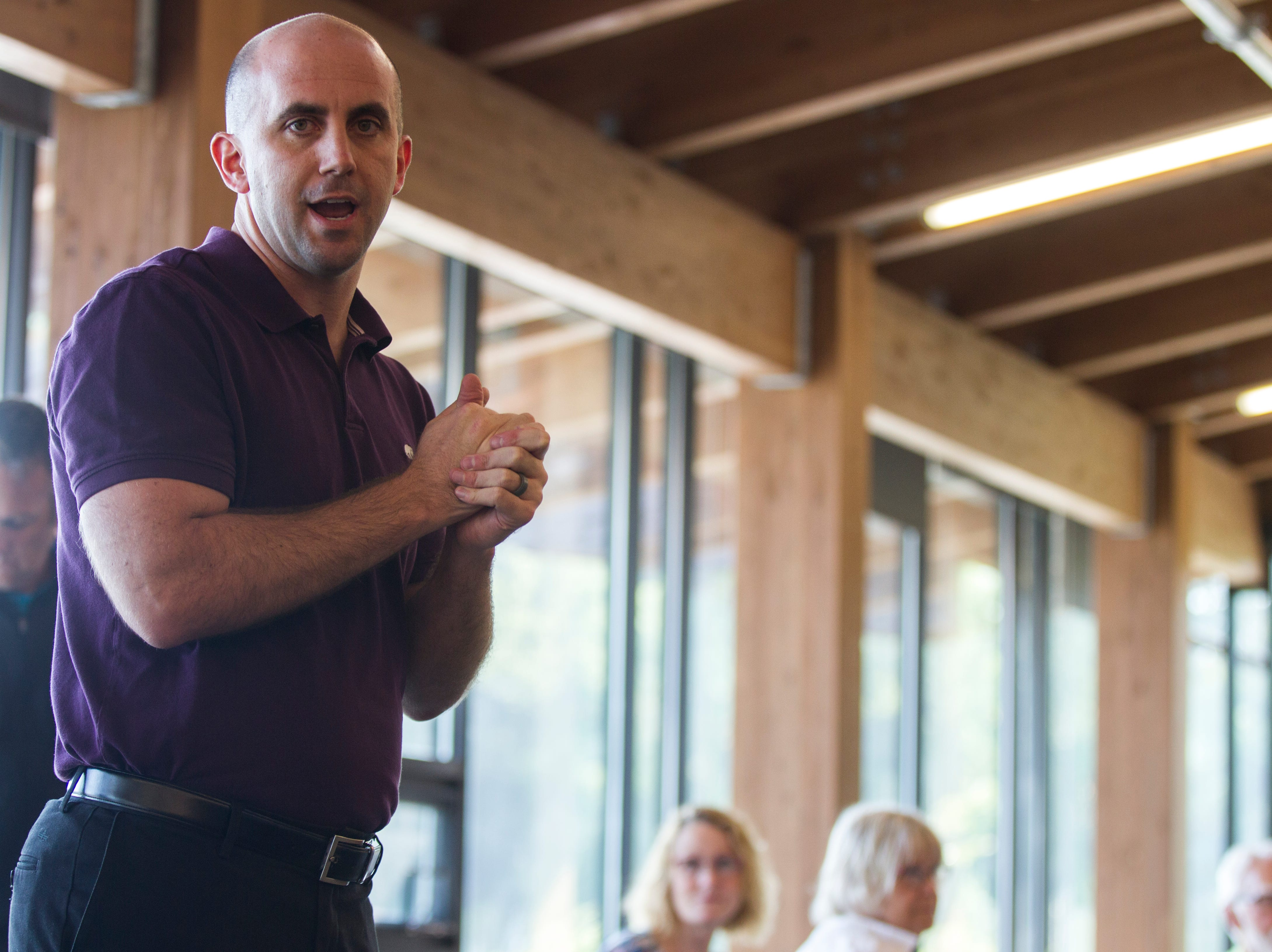 Geoff Fruin, Iowa City city manager, speaks during an event for Iowa City RAGBRAI volunteers on Monday, Aug. 27, 2018, inside the Park Lodge at Terry Trueblood Recreation Area in Iowa City.