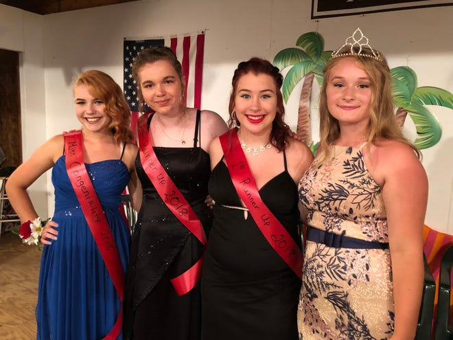 From a field of 10 contestants for Miss Spencer Picnic, these were the winning girls: from left, Haleigh Barber (Miss Congeniality), Hailey Westervelt (second runner-up), Natilie Graham (first runner-up), and the new Miss Spencer Picnic, Amelia Sousa.