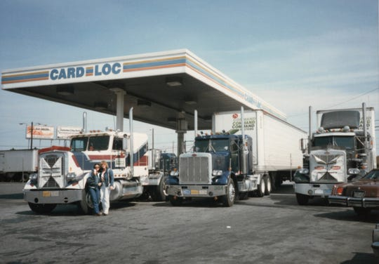 Two women truck drivers pose at a truck stop in the early 1980s. The late Jane Warnock, of Vicksburg, drove a truck for 15 years and photographed other drivers and scenes she saw on her delivery routes across the continental  U.S.