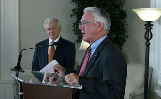 UTK Chancellor Wayne Davis, right, and Bill Fox, director of the Boyd Center, announced results of study on the impact of UT-related spending in Tennessee Monday, Aug. 27, 2018.