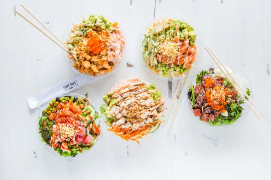 A selection of poke bowls available at Poke Bros. restaurant