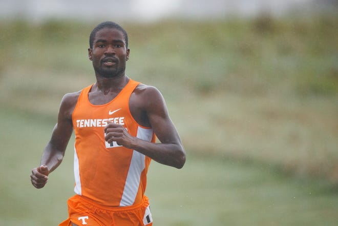Tennessee's Andre Hillsman competes in the Tennessee Dual between the Vols and Louisville at Cherokee Farms Cross Country course in Knoxville on Sept. 2, 2017.