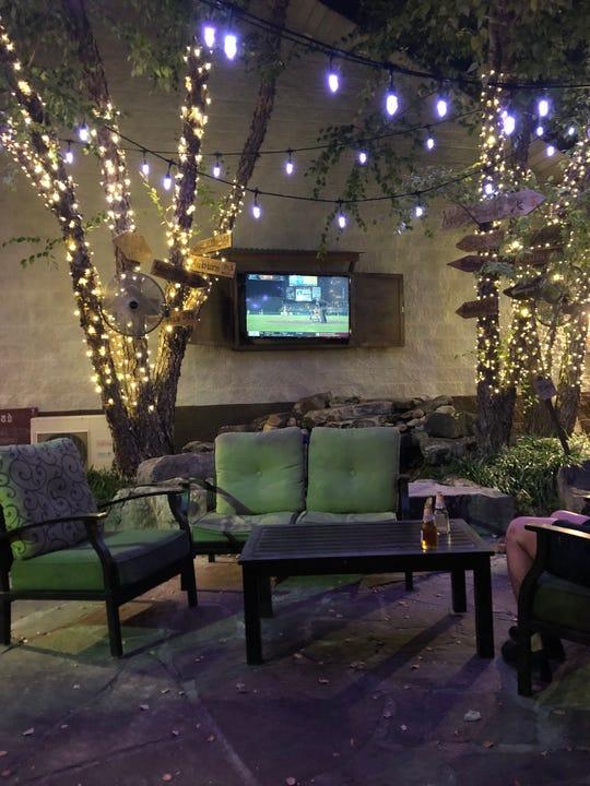 String lights illuminate the large patio at BucketHead Tavern.