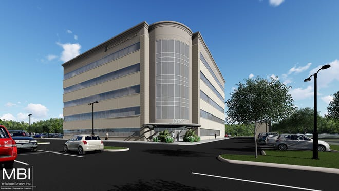 A rendering of the under-construction Phillips & Jordan headquarters on Parkside Drive.