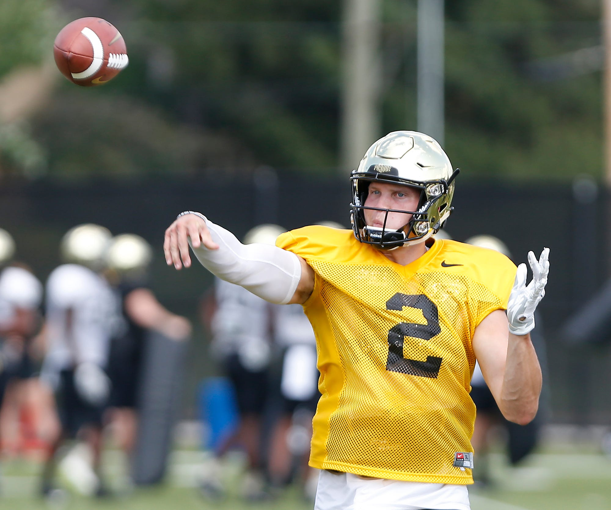 Quarterback Elijah Sindelar with a pass during Purdue football practice Monday, August 27, 2018, in West Lafayette.